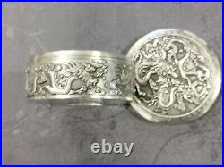 Solid Silver Indochina Box For Decorated Dragons 2.2oz Chinese Export Silver Box