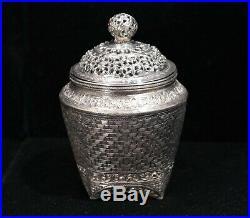Southeast Asian Indo-Chinese 900 Silver Cricket/Potpourri Box 20th Century