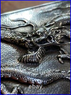 Sterling Silver Chinese Luen Wo Cigar Dragon Box 374 grams