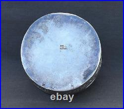 Stunning 19th Century Chinese Export Silver Circular Box And Cover