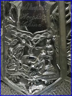Stunning Antique hand hammer Chinese Export Silver Tea Box Wang Hing great work
