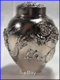Stunning Chinese Export Silver Hand Hammered Dragon Tea Caddy Box Signed BEST