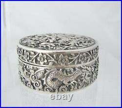 Stunning Chinese Export dragon design circular silver box c 1890