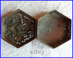 Stunning Chinese export silver reticulated hexagonal box Bird amidst foliage