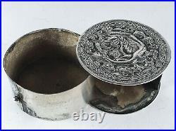 Stunning Unusual 19th Century Signed Swivelling Circular Silver Dragon Box