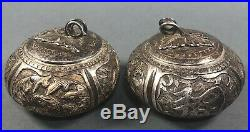 Two Antique Chinese Silver Boxes 19thc