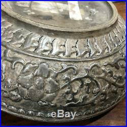 Unusual Chinese silver enameled large moulded box and cover