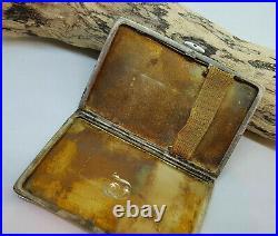 Used Antique Solid Silver Blue Enamel Cigarette Card Holder Case Box 77 G
