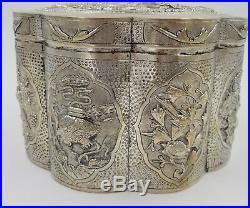 VTG Chinese Vietnamese Calendar Art Deco Demitasse Silver Plate Box Dragons