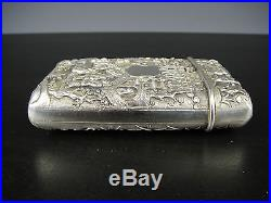 Very Fine Chinese Export Silver Cigarett/Card Case With Figures. 1850-1880