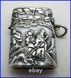 Very Rare Wang Hing Solid Silver Chinese Export Antique Vesta Case Match Box