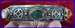 Vintage Antique Chinese Box Silver Filigree Enamel Gem Bangle Bracelet Small