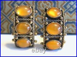 Vintage Antique Chinese Export Silver Orange Jade Carnelian Stone Earrings & Box