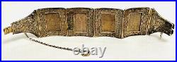 Vintage Antique Chinese Export Sterling Silver Carved Panel Link Bracelet With Box