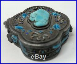 Vintage Antique Chinese Export sterling Silver & Enamel Turquoise Pill Box