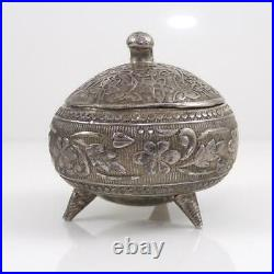 Vintage Antique Chinese Silver Floral Etched Jewelry Pill Box Lidded Jar LHA3