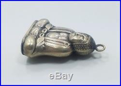 Vintage Antique Silver Asian Chinese Buddah Snuff Hidden Pill Box Charm Fob
