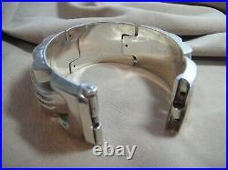Vintage Chinese 4-Seasons Sterling Silver 8-Panel Bracelet Box Clasp 66g