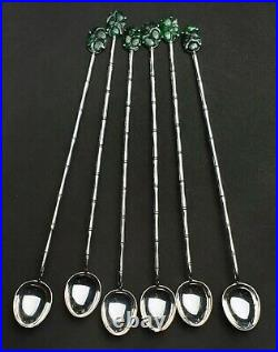 Vintage Chinese Art-deco Wai Kee Silver & Green Jade Iced Tea Spoons (6) Boxed
