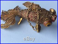 Vintage Chinese Enamel Silver Articulated Fantail Goldfish Pill Box Pendant