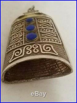 Vintage Chinese Export Silver & Enamel Filigree Bell Shaped Hinged Box Pendant