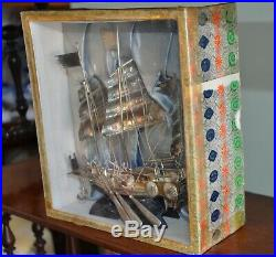 Vintage Chinese Export Silver Junk In Original Glass Fronted Box, Hardwood Stand