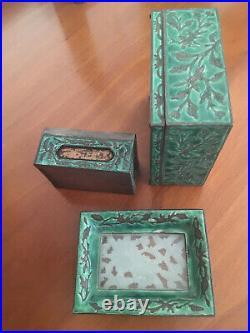 Vintage Chinese Jade Enamel 3pc. Smoke set box matchbox ashtray reposse