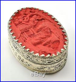 Vintage Chinese Shard Box Tibetan Silver Cinnabar Inlay Jewelry Mirror Scenery