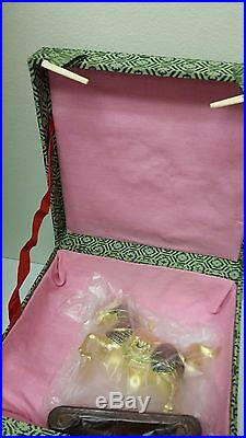 Vintage Chinese Silver Gold plated Vermeil Filigree Horse Statue withstand, box