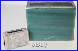 Vintage Chinese Silver & Green Aventurine Stone Cigarette And Match Box Set