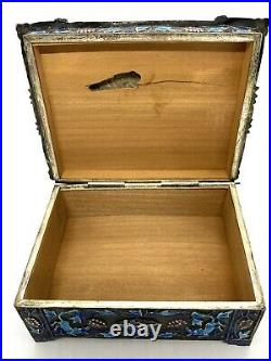 Vintage Chinese Silver Plated Enamel Large Jewelry Box 4.3/4x3.3/4x1.5/8