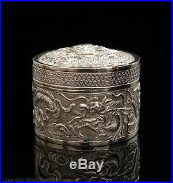 Vintage Chinese Silver Repousse Dragon Design Round Lidded Snuff Box