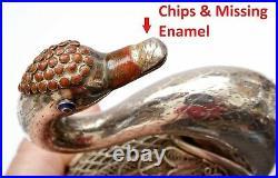 Vintage Chinese Solid Silver Filigree Enamel Swan Bird Goose Shaped Box Marked