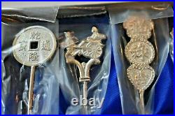 Vintage Chinese Souvenir Silver Spoons NEW SEALED Set of 6 In Box with Glass Lid