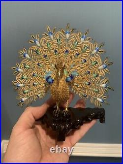 Vintage Chinese Sterling Silver Filigree & Enamel Peacock Figurine In Box Gilt