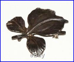 Vintage Chinese Sterling Silver Leaf Motif Brooch Pin by Ming's in Box (Cwo)