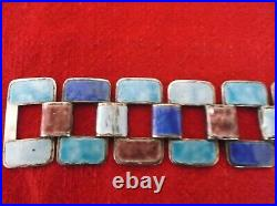 Vintage Chinese enamel on silver link bracelet in original embroidered silk box