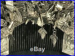 Vintage Framed Miao White Silver-Covered Comb And Hair Pins China Shadow Box Set