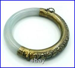 Vintage Green JADE Jadeite Sterling Silver Repousse Chinese Bangle Bracelet
