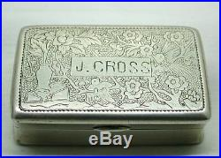 Vintage Pretty Chinese Solid Silver Snuff Box / Trinket Box