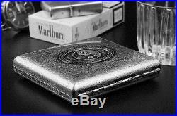 Vintage Slim 20 pcs Silver Wiredrawing Chinese Tai Chi Buddha Cigarette Case Box