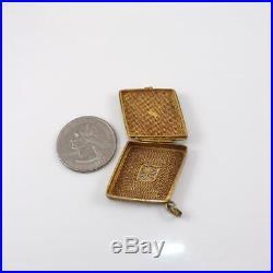 Vintage Sterling Silver Chinese Export Spider Enamel PIll Box Pendant LFJ5