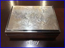 Vintage/antique Chinese/Japanese Sterling Silver Wooden Box Marked Silver 950