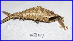 Vintage sterling silver coral Chinese articulated fish pill box necklace charm