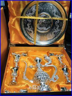 Vtg. Asian Ceremonial Tea Set in Sterling Silver 10 PCS in Lined Box! 690 GR