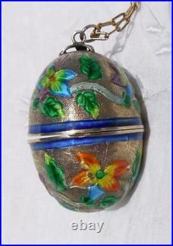 Vtg CHINESE EGG Gilt Silver & Enamel Locket, Pill, Snuff Box Pendant Necklace