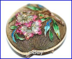 Vtg Chinese Export Silver Enamel Mesh Filigree Heart Box Cherry Blossom Antique