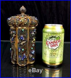 Wonderful Antique Chinese Export Silver Enamel And Gold Gild Tea Caddy Box